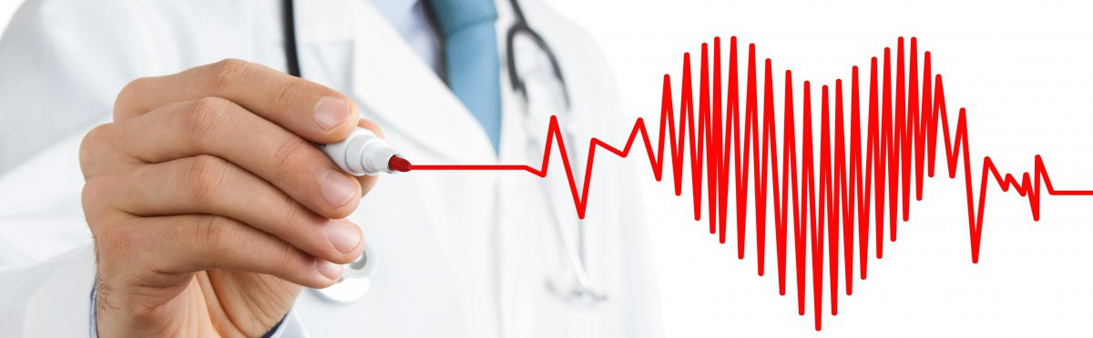 Doctor in white lap coat drawing heart beat