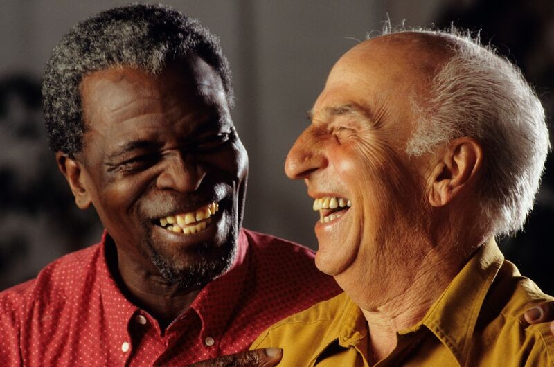Two senior men sharing a laugh