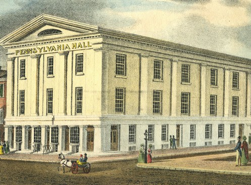 """Built by the Pennsylvania Anti-Slavery Society to serve as a meeting place for abolitionists, Pennsylvania Hall ws burned to the ground by """"anti-black"""" rioters , four days after it opened. (Photo courtesy of the Free Library of Philadelphia)"""